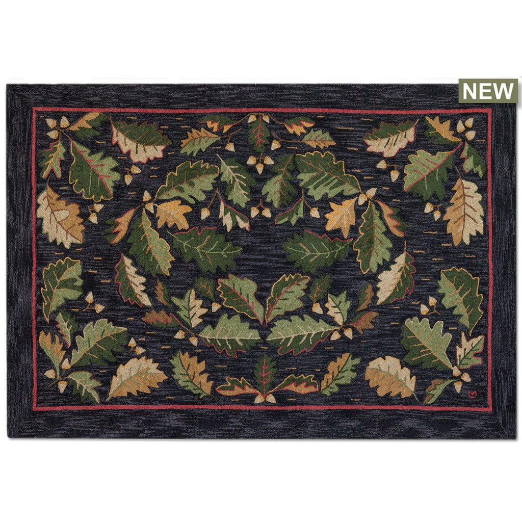 Acorns & Leaves Hooked Wool Rug 6' x 9'
