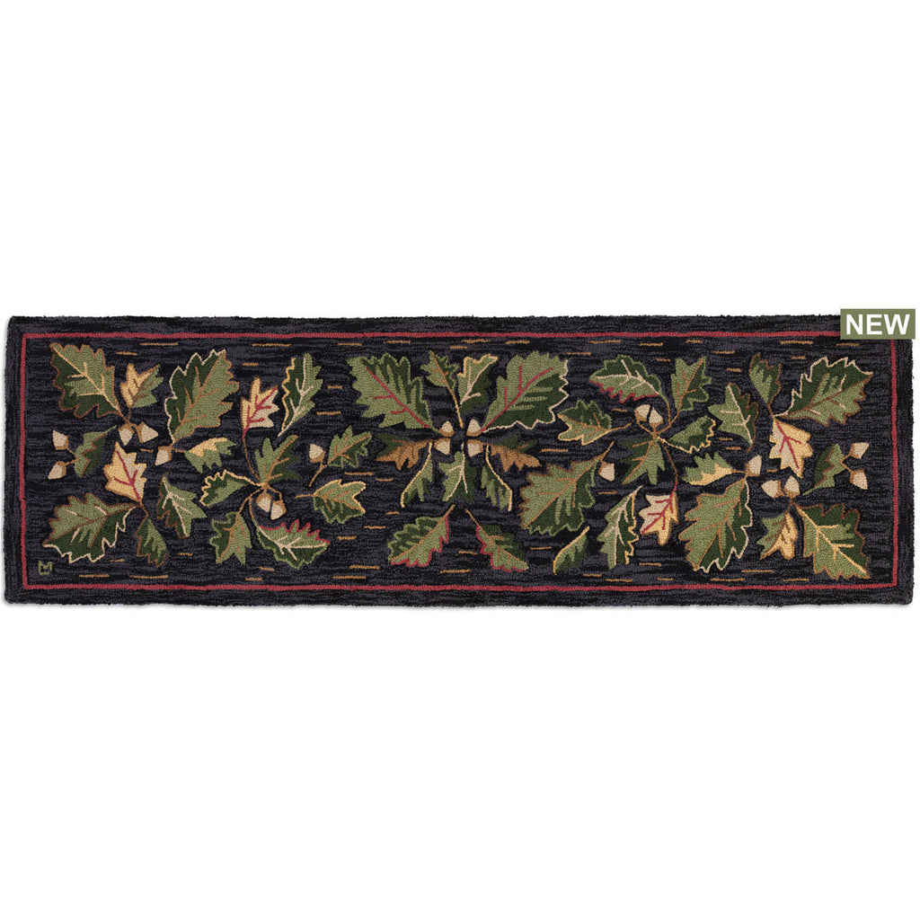 "Acorns & Leaves Hooked Wool Runner 30"" x 8'"