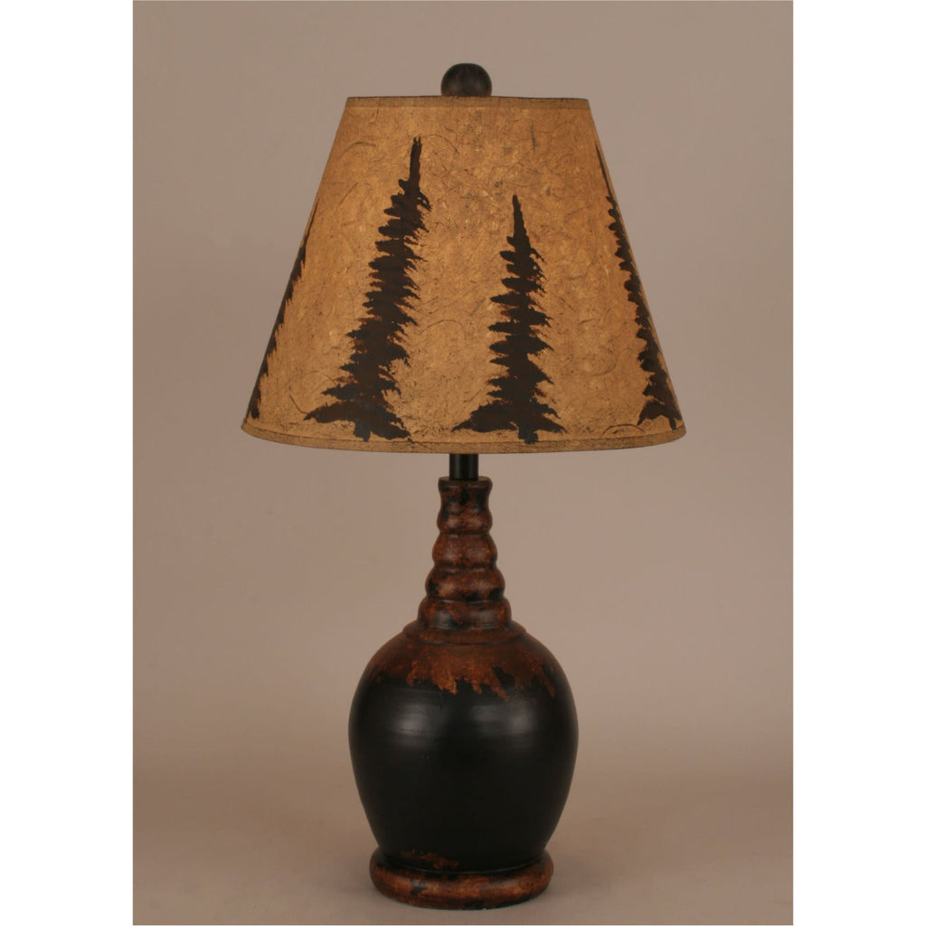 Aged Black Pine Tree Table Lamp