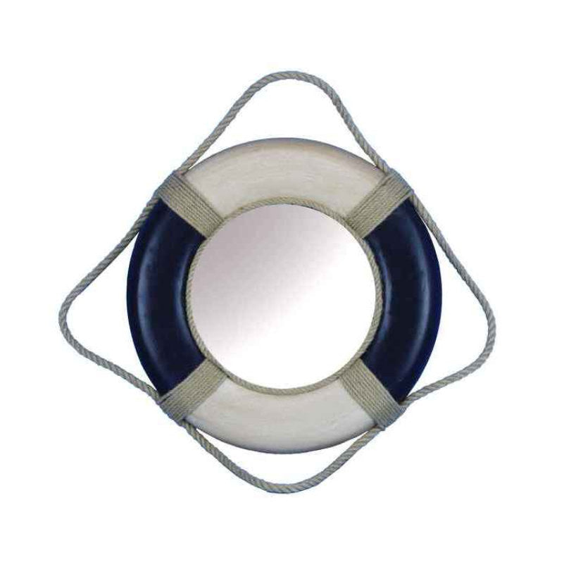 Antique Blue & White Decorative Life Ring Mirror 15""