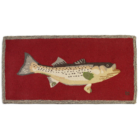 Bass Mount on Red Hooked Wool Rug 2' x 4'