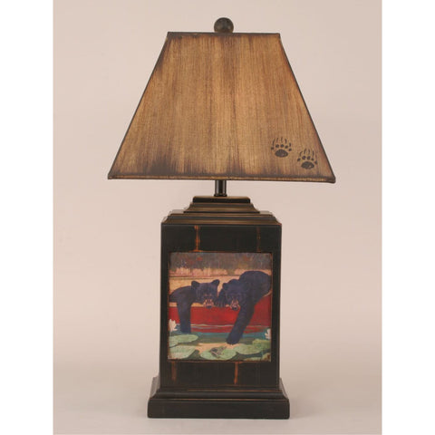 Bead Board Bears in Canoe Table Lamp
