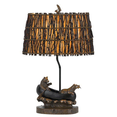 Bear in Canoe Table Lamp with Wicker Shade