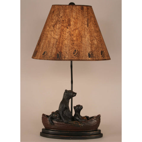 Bear Family in Canoe Table Lamp - Dark Finish