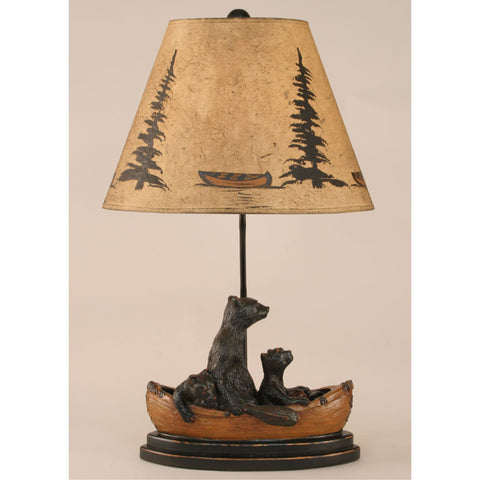 Bear Family in Canoe Table Lamp - Light Finish