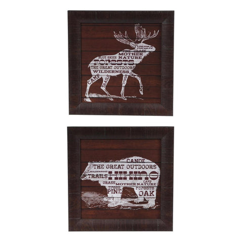 Bear & Moose Text Framed Print Pair