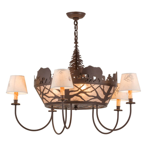 Cabin chandeliers rustic chandeliers free shipping lakecabin depot bear on the loose chandelier 36 mozeypictures Gallery