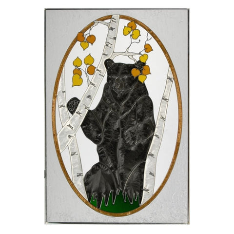 "Bear Stained Glass Panel 20.5"" x 30.5"""