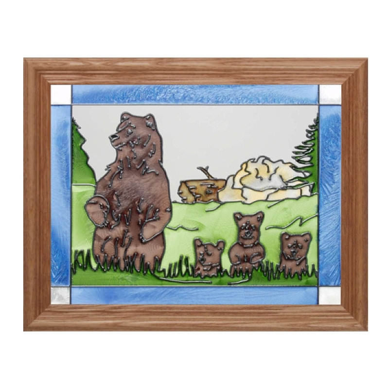 Mother Bear & Cubs Stained Glass Framed Panel