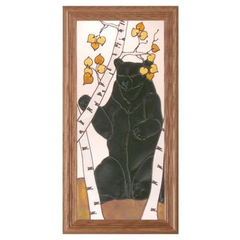 Birch Bear Stained Glass Framed Panel