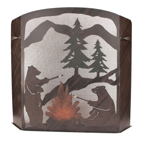 Bears Roasting Marshmallows Fireplace Screen