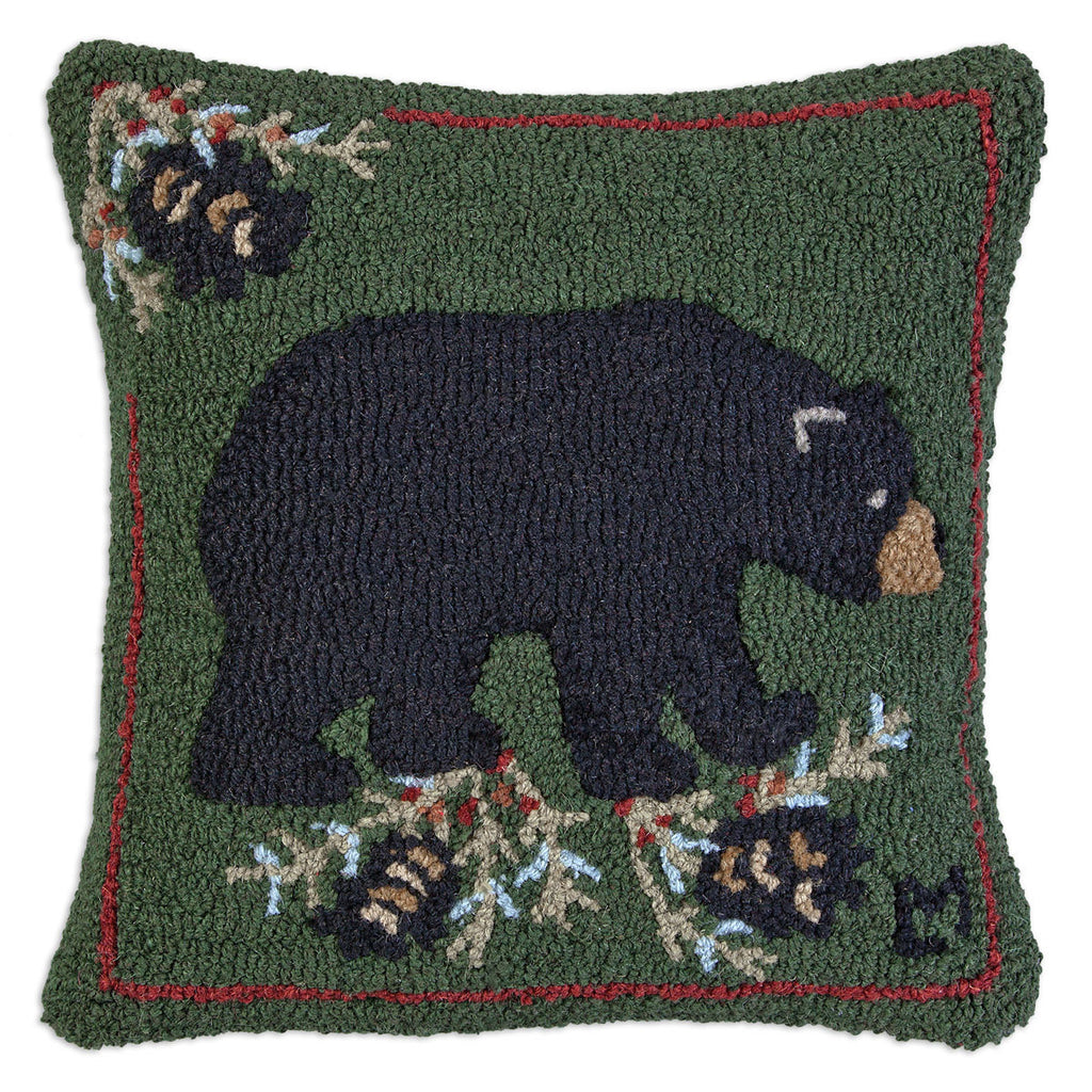 Black Bear Hooked Wool Pillow 18""