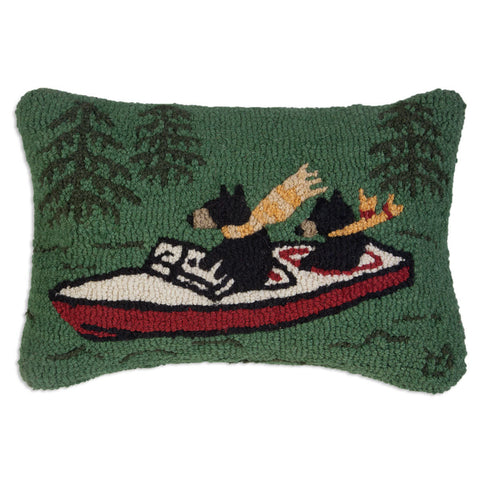 "Boating Bears Hooked Wool Pillow 14"" x 20"""