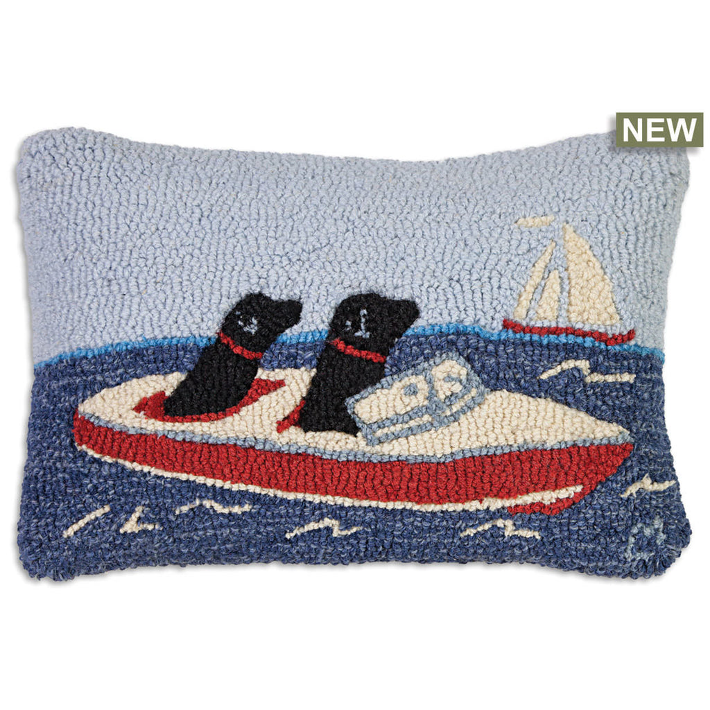 "Boating Labs Hooked Wool Pillow 14"" x 20"""