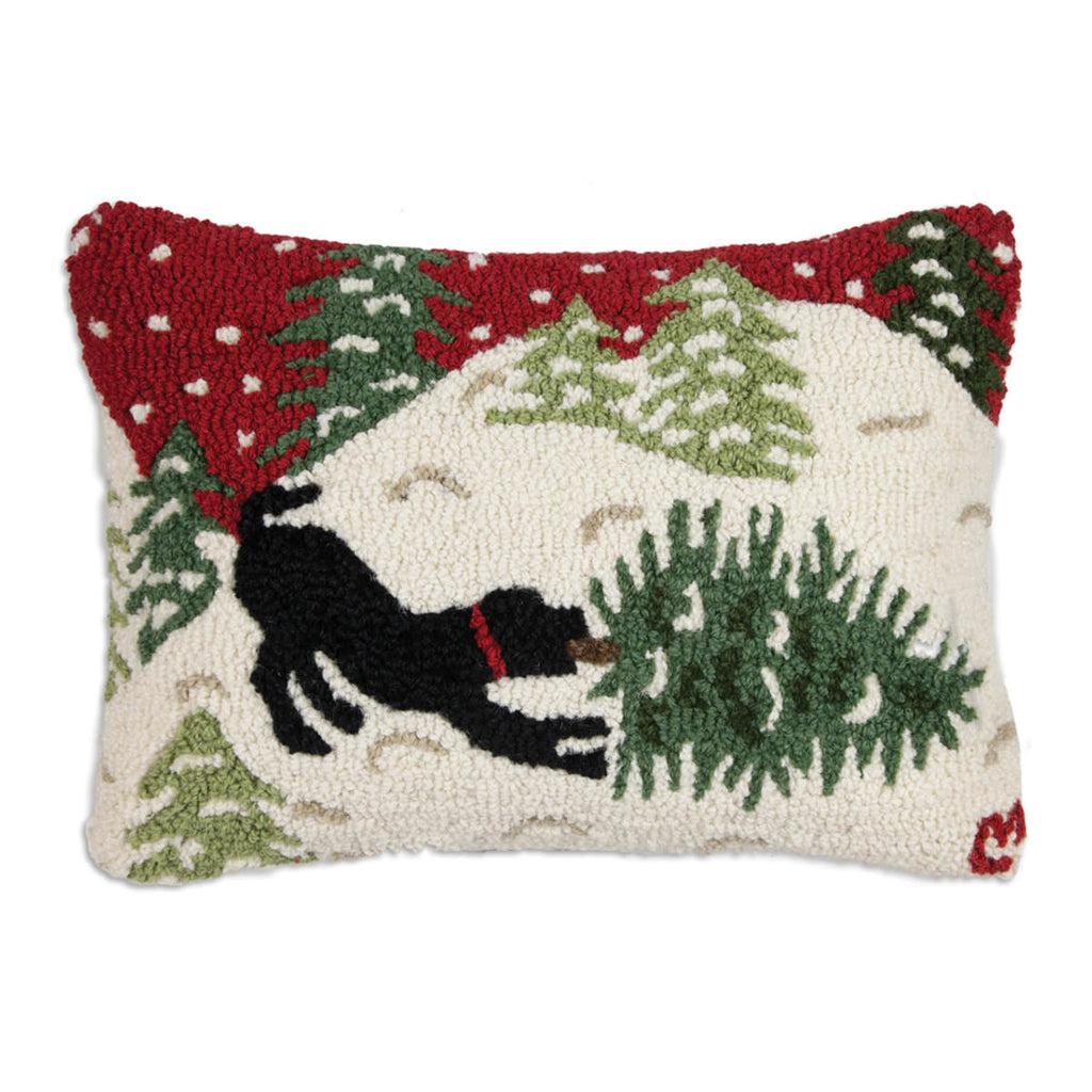 Bringing Home Tree Hooked Wool Pillow 20 x 14
