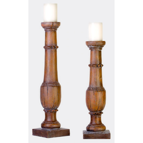 "Brown Rustic Wood Candle Holder Set 24""H & 20""H"