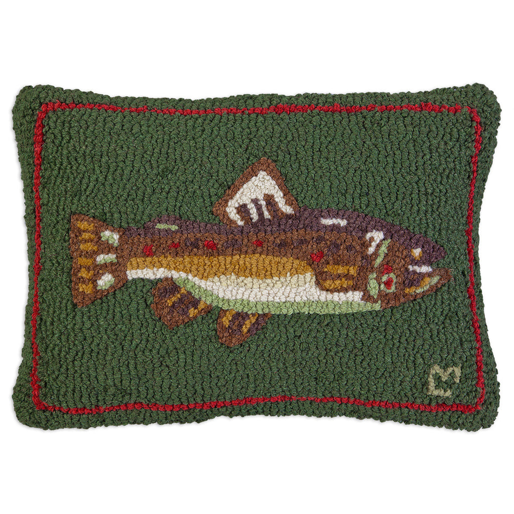 "Brown Trout Hooked Wool Pillow 14"" x 20"""