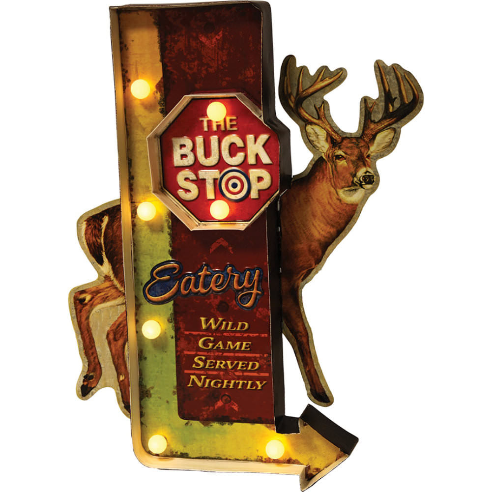 Buck Stop LED Metal Sign