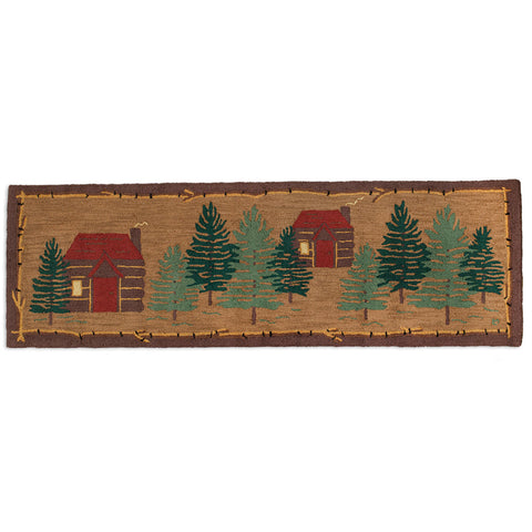 "Cabin Compound Hooked Wool Runner 30"" x 8'"