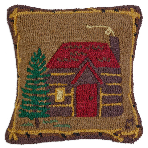 Cabin in the Woods Hooked Wool Pillow 18""