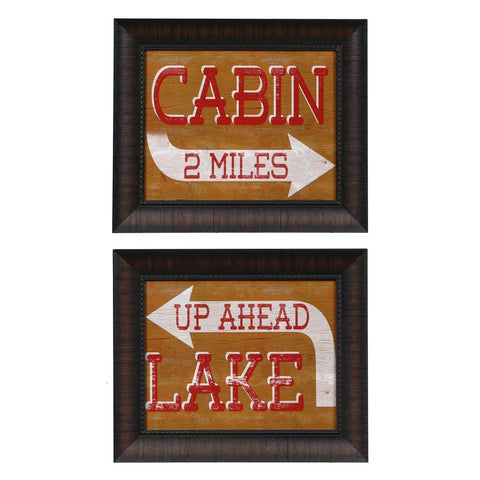 Cabin & Lake Sign Framed Pair