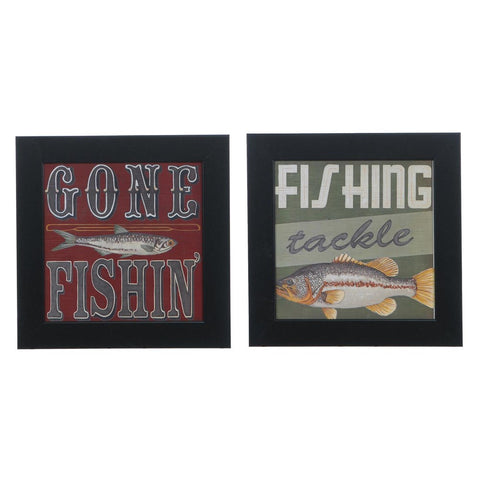 Cabin Life 7 & 6  Framed Print Sign Pair