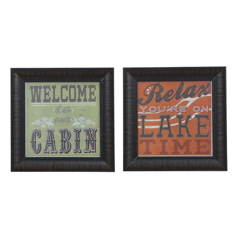Cabin Life 1 & 2  Framed Print Sign Pair