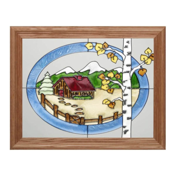 Summer Cabin Stained Glass Framed Panel