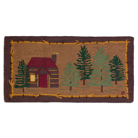 Cabin in the Woods Hooked Wool Rug 2' x 4'