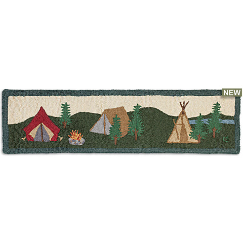 "Camping Hearth Hooked Wool Rug 12"" x 48"""