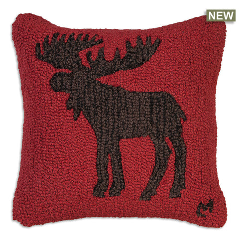 Chocolate Moose Hooked Wool Pillow 18""