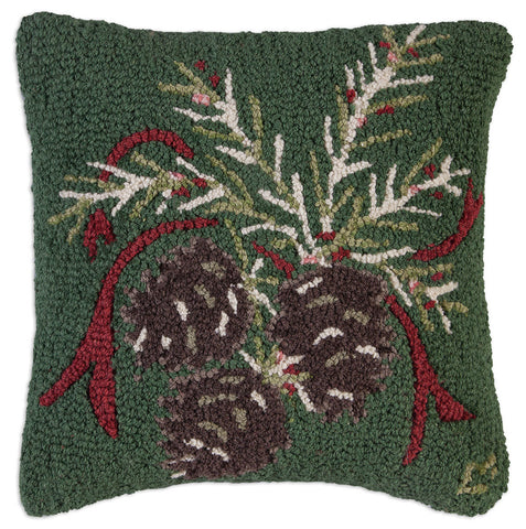 Christmas Pinecone Hooked Wool Pillow 18""