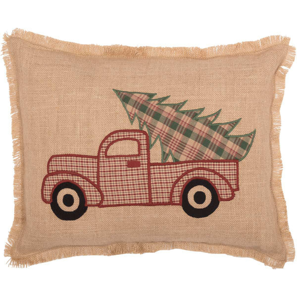 Clement Truck Christmas Tree Pillow Front