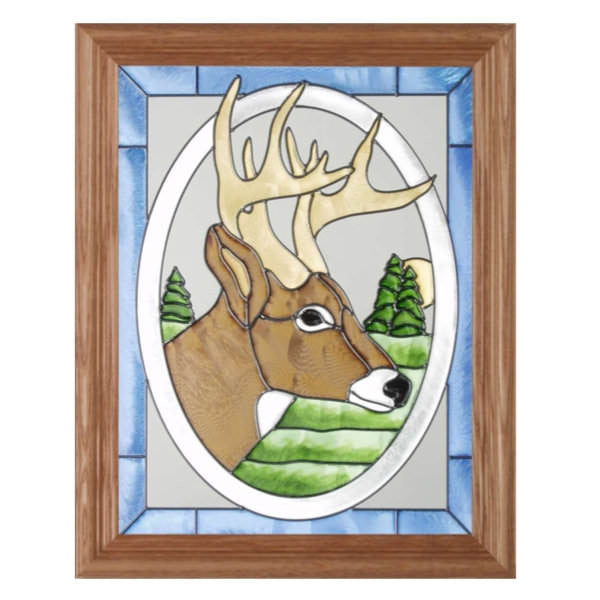 Deer Head Stained Glass Framed Panel