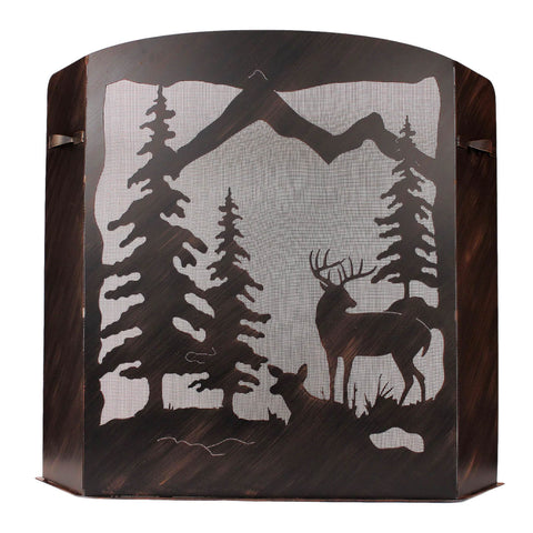 Deer Scene Fireplace Screen