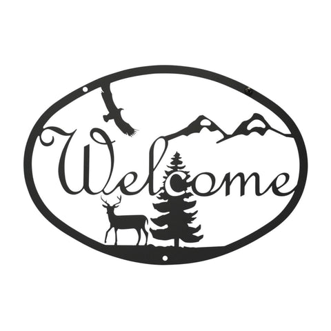 Wrought Iron Deer Scene Welcome Sign
