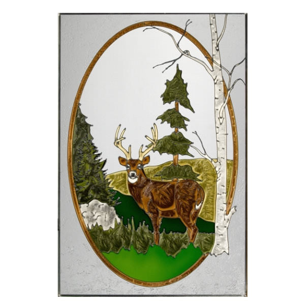 "Deer Scene Stained Glass Panel 20.5"" x 30.5"""
