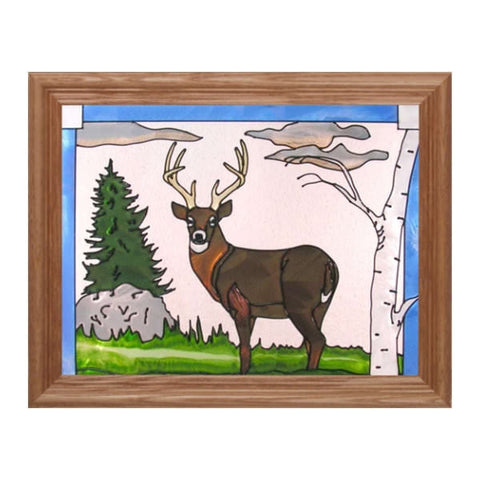 Buck Stained Glass Framed Panel