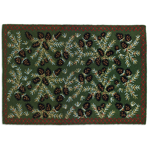 Diamond Pinecone Hooked Wool Rug 4' x 6'