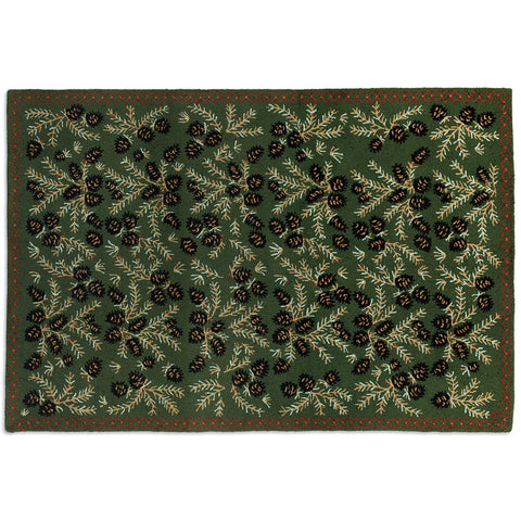 Diamond Pine Hooked Wool Rug 6' x 9'