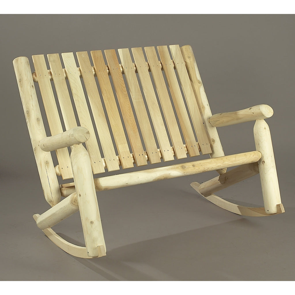 White Cedar Double Highback Log Rocker
