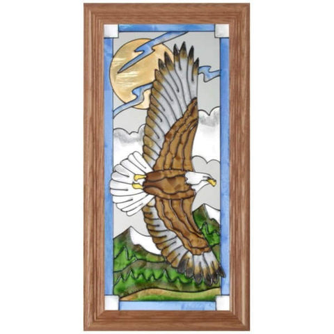 Flying Eagle Stained Glass Framed Panel