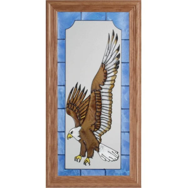 Landing Eagle Stained Glass Framed Panel