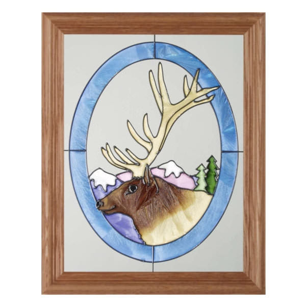 Elk Head Stained Glass Framed Panel