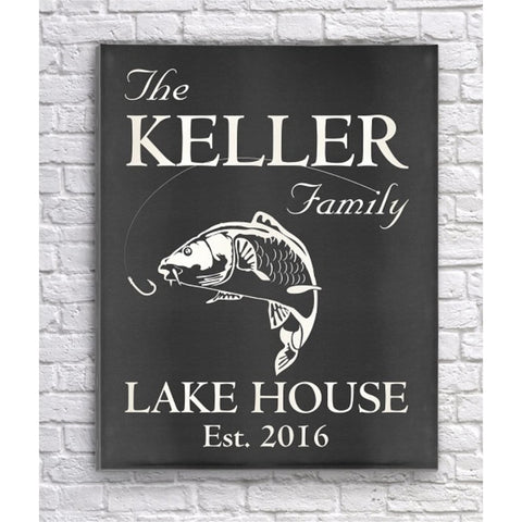 Personalized Family Lake Home Canvas Print Sign - Black Chalkboard