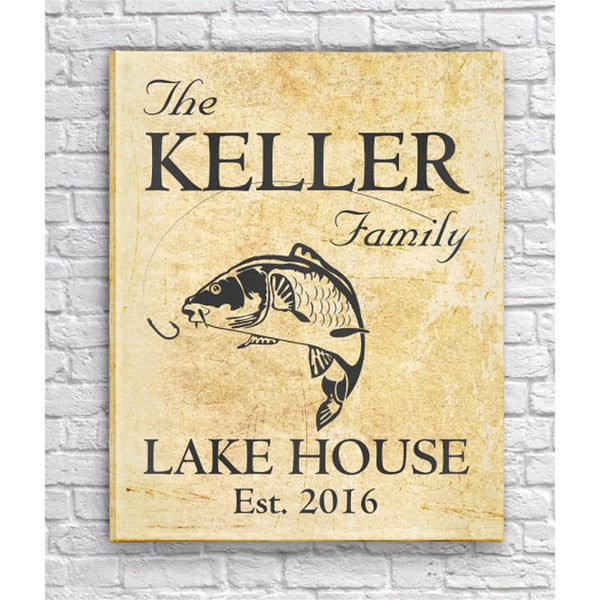 Personalized Family Lake Home Canvas Print Sign - Tan Parchment