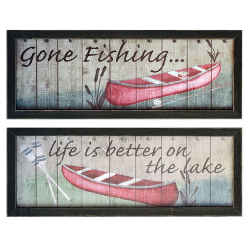 Fishing 1 & 2 Framed Print Pair