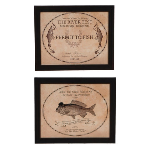 Fishing 1 & 2  Framed Print Sign Pair