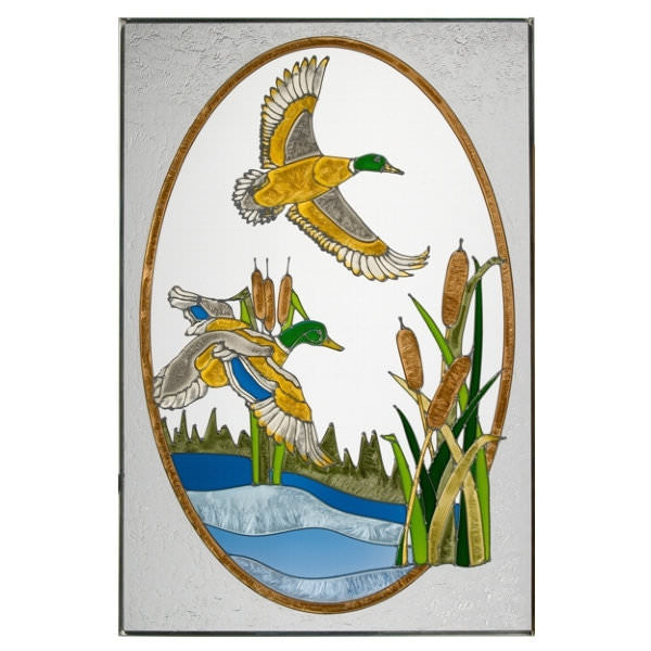 "Flying Mallards Stained Glass Panel 20.5"" x 30.5"""