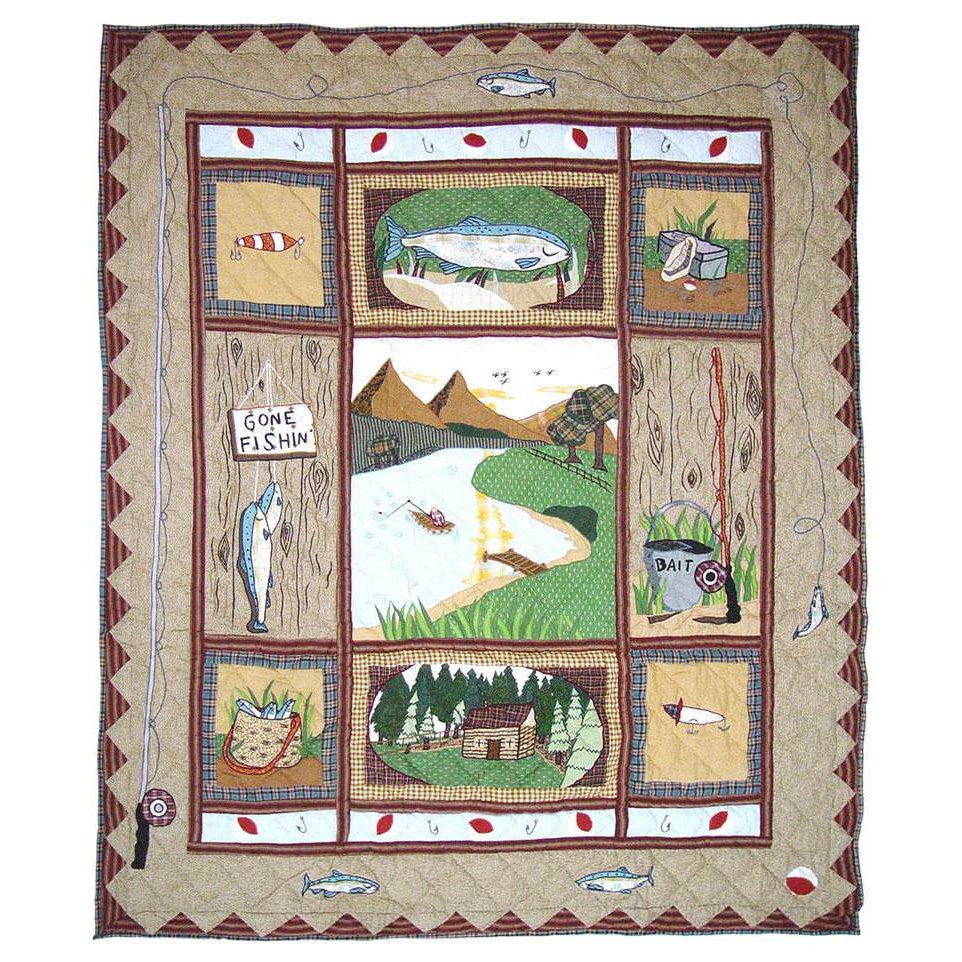 Gone Fishing Quilted Throw